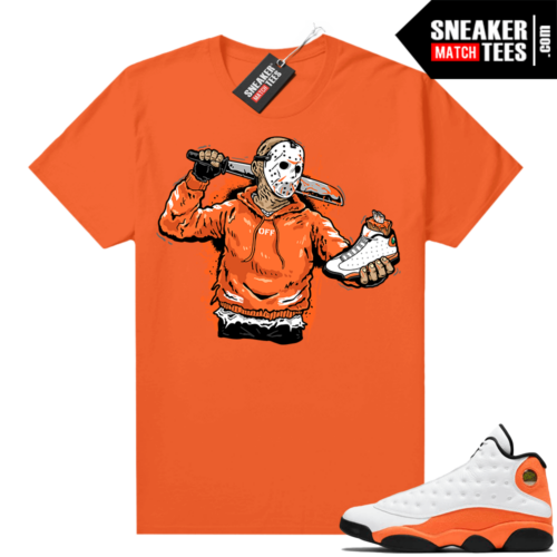 Jordan 13 Starfish Match Sneaker Tees Shirt Orange Jason Cop