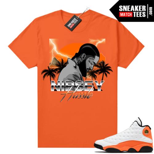 Jordan 13 Starfish Match Sneaker Tees Shirt Orange Nipsey Hussle