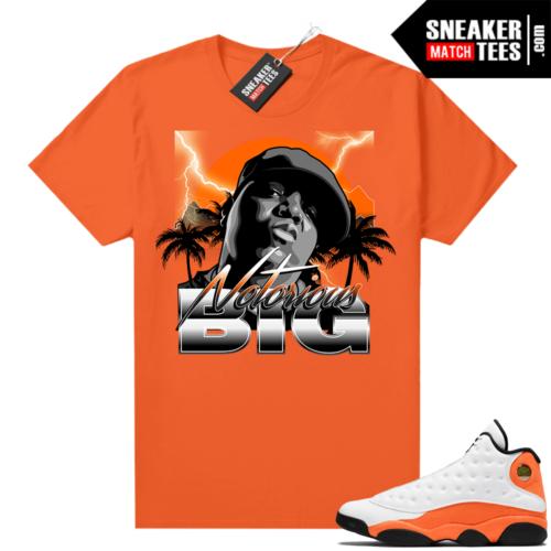 Jordan 13 Starfish Match Sneaker Tees Shirt Orange Notorious Big