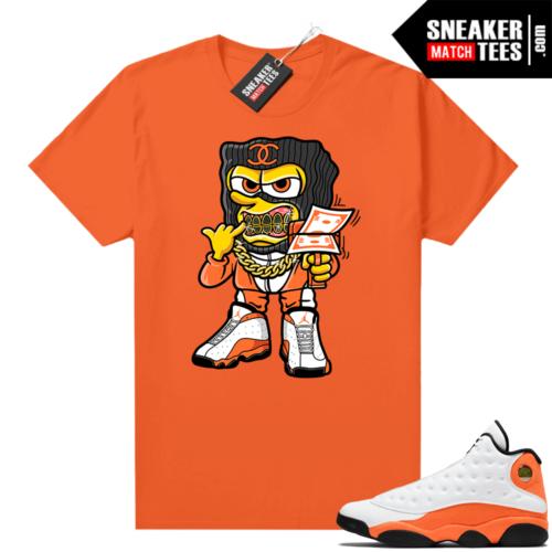 Jordan 13 Starfish Match Sneaker Tees Shirt Orange Savage