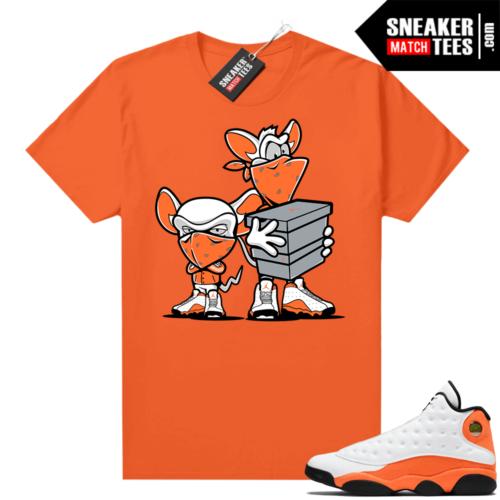 Jordan 13 Starfish Match Sneaker Tees Shirt Orange Sneaker Heist