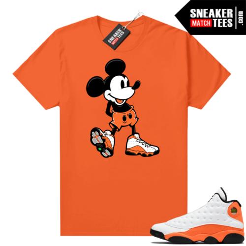 Jordan 13 Starfish Match Sneaker Tees Shirt Orange Sneakerhead Mickey