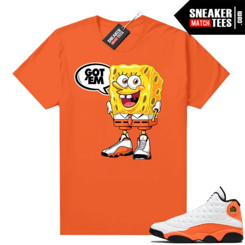 Jordan 13 Starfish Match Sneaker Tees Shirt Orange Spongebob Got EM