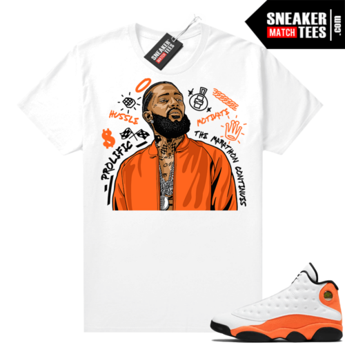 Jordan 13 Starfish Sneaker Tees Shirt Match White NIpsey Tribute