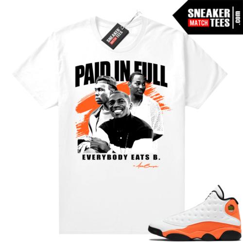 Jordan 13 Starfish Sneaker Tees Shirt Match White Paid In Full Movie tee