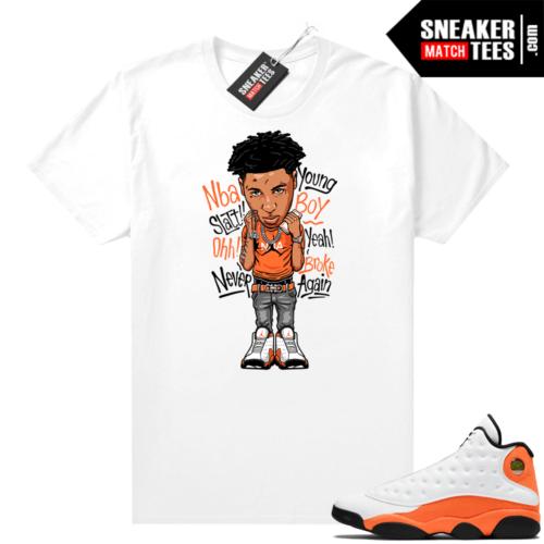 Jordan 13 Starfish Sneaker Tees Shirt Match White Youngboy NBA Toon