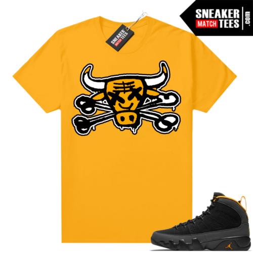 Jordan 9 University Gold Shirt Bully Bones
