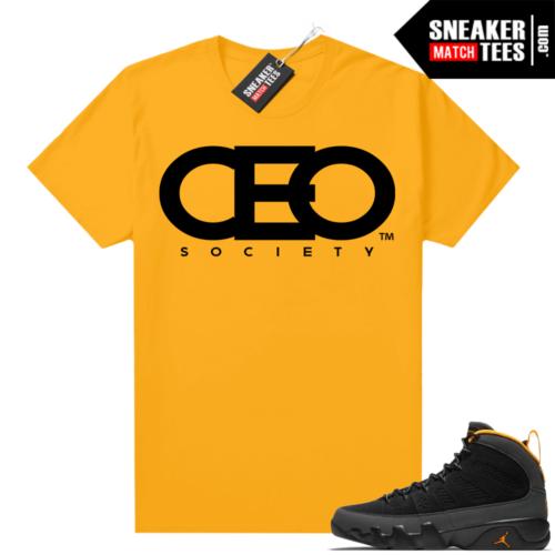 Jordan 9 University Gold Shirt CEO Society