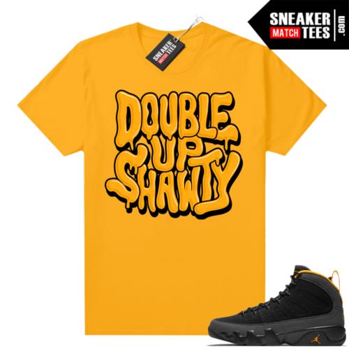 Jordan 9 University Gold Shirt Double Up Bubble Drip