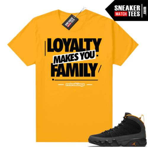 Jordan 9 University Gold Shirt Family