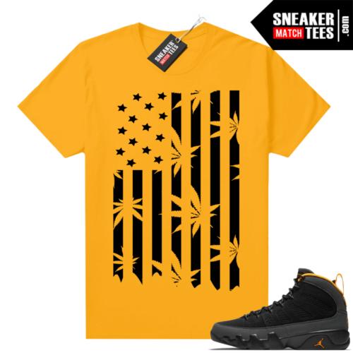 Jordan 9 University Gold Shirt Kush Flag