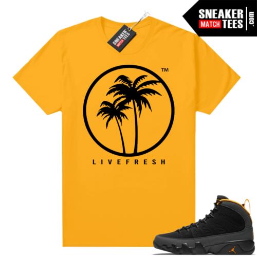 Jordan 9 University Gold Shirt Live Fresh Palm