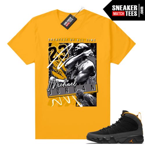 Jordan 9 University Gold Shirt MJ Greatest