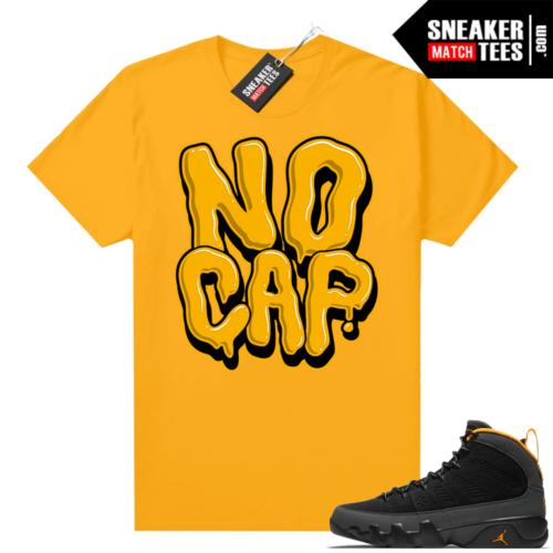Jordan 9 University Gold Shirt No Cap Bubble Drip