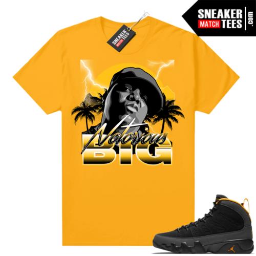 Jordan 9 University Gold Shirt Notorious