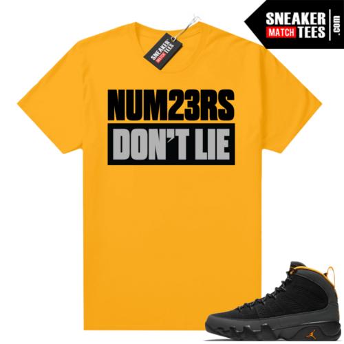 Jordan 9 University Gold Shirt Numbers Don't Lie