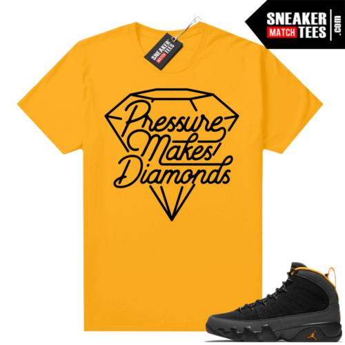 Jordan 9 University Gold Shirt Pressure makes diamonds