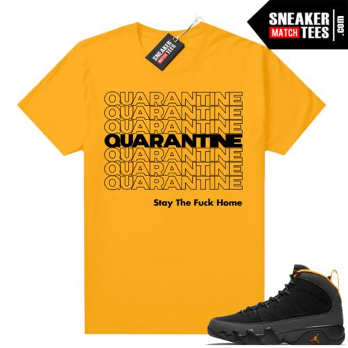 Jordan 9 University Gold Shirt Quarantine
