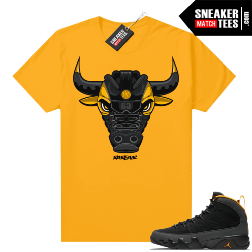 Jordan 9 University Gold Shirt Rare Air Bull