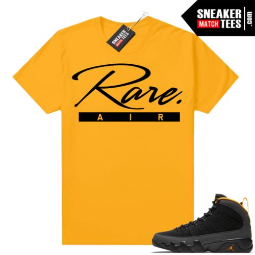 Jordan 9 University Gold Shirt Rare Air Script