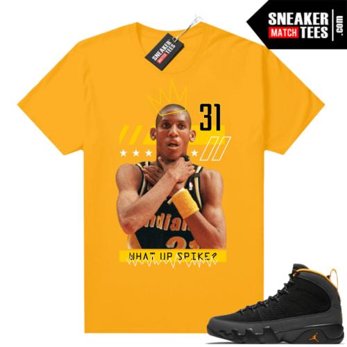 Jordan 9 University Gold Shirt Reggie Miller