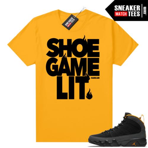 Jordan 9 University Gold Shirt Shoe Game Lit