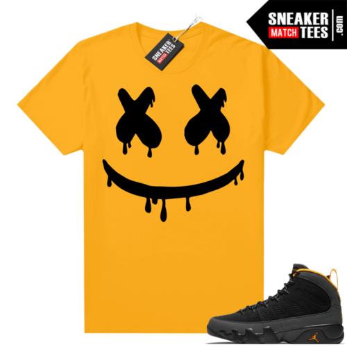 Jordan 9 University Gold Shirt Smiley Drip