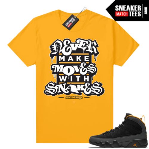 Jordan 9 University Gold Shirt Snakes