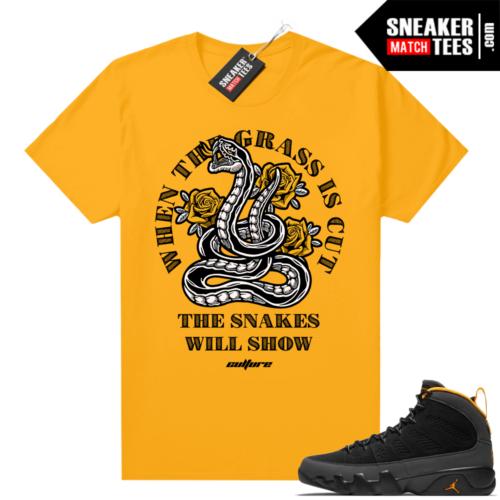 Jordan 9 University Gold Shirt Snakes Will Show