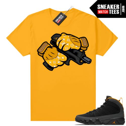 Jordan 9 University Gold Shirt Sneaker Heat