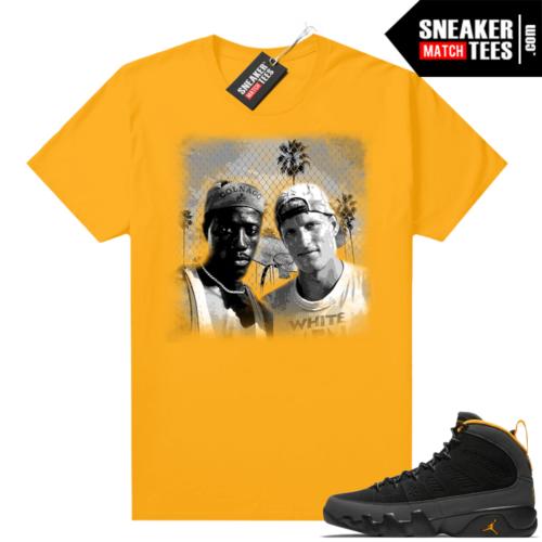 Jordan 9 University Gold Shirt White Man Cant Jump Movie