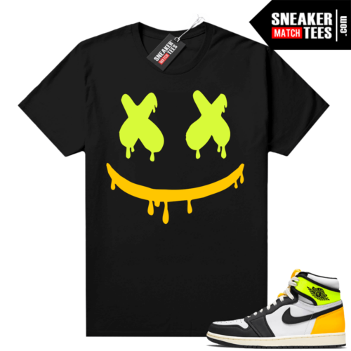 Jordan Volt Gold 1s shirt black Smiley Drip