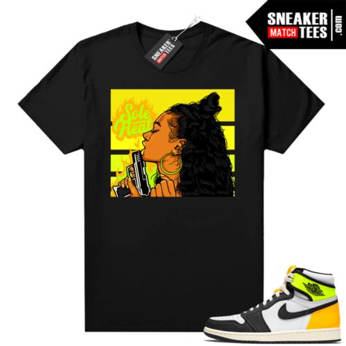 Jordan Volt Gold 1s shirt black Sole Heat