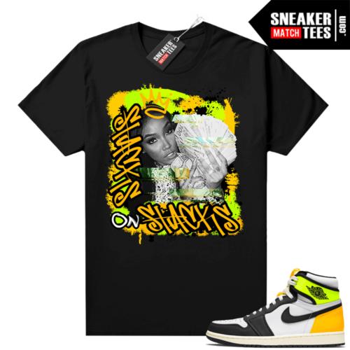 Jordan Volt Gold 1s shirt black Stacks On Stacks