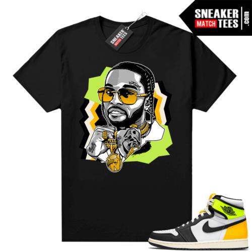 Jordan Volt Gold 1s shirt black The Woo