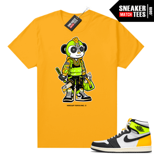 No Cap Toys Collab Graffiti Monkey Shirt Gold Volt Gold 1s