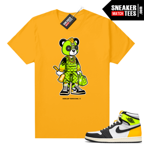 No Cap Toys Collab Hype Bear Shirt Gold Volt Gold 1s