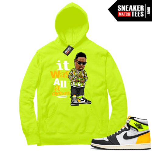 Volt Gold Hoodies to match Jordan 1 Volt Biggie Toon
