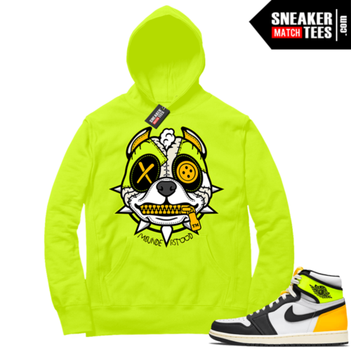 Volt Gold Hoodies to match Jordan 1 Volt Misunderstood Pitbull Puppy