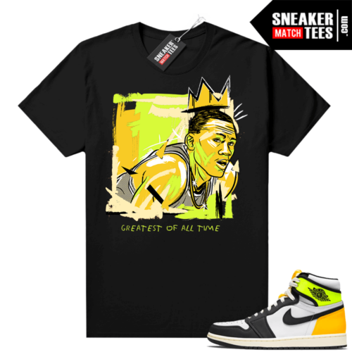 Volt Gold Shirts to match Jordan 1 Black Basquiat Goat