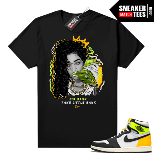 Volt Gold Shirts to match Jordan 1 Black Big Bank