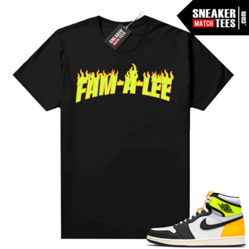 Volt Gold Shirts to match Jordan 1 Black Famalee Flame JTSG
