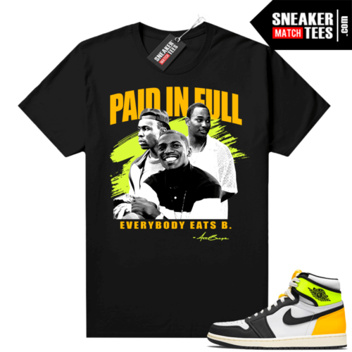 Volt Gold Shirts to match Jordan 1 Black Paid In Full Movie