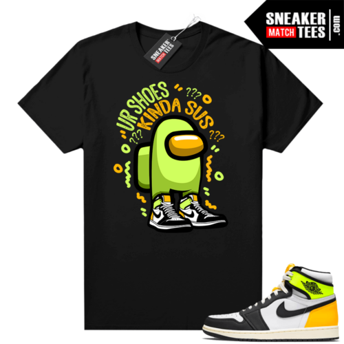 Volt Gold Shirts to match Jordan 1 Black Shoes Sus