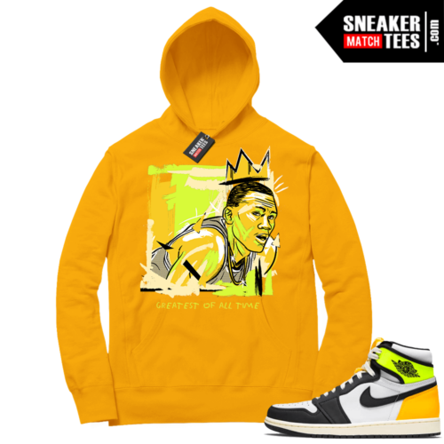 Volt Gold Hoodies to match Jordan 1 Gold Basquiat Goat