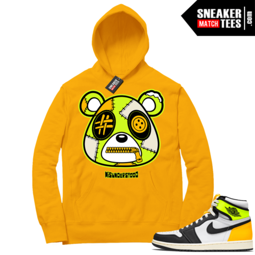 Volt Gold Hoodies to match Jordan 1 Gold Misunderstood Bear