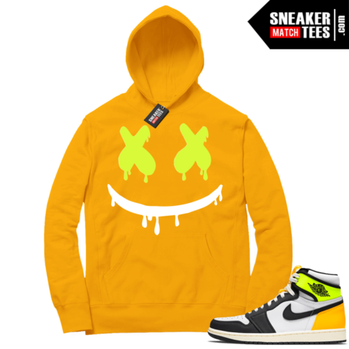 Volt Gold Hoodies to match Jordan 1 Gold Smiley Drip