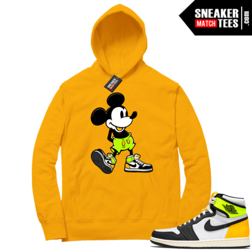 Volt Gold Hoodies to match Jordan 1 Gold Sneakerhead Mickey