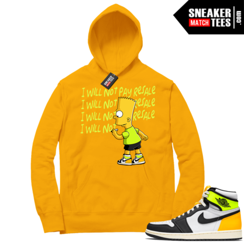 Volt Gold Hoodies to match Jordan 1 Gold Will Not Pay Resale